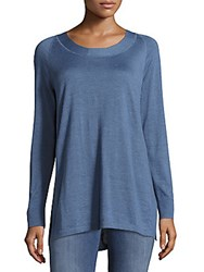 Akris Cashmere And Silk Knit Top Blue