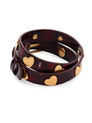 Tory Burch Heart Studded Leather Double Wrap Bracelet Tortoise