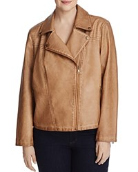 Bagatelle Plus Trapunto Quilted Faux Leather Moto Jacket Tan