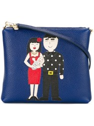 Dolce And Gabbana Family Patch Crossbody Bag Blue