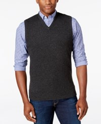 Club Room Cashmere Solid Sweater Vest Dark Charcoal Heather