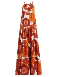 Dodo Bar Or Dorothy Floral Print Tiered Cotton Maxi Dress Orange Print