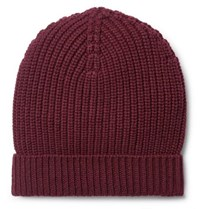 Dolce And Gabbana Ribbed Cashmere Beanie Burgundy