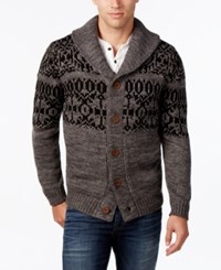 Weatherproof Vintage Men's Fair Isle Cardigan Charcoal