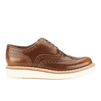 Grenson Men's Stanley V Crackle Leather Brogues Tan Brown