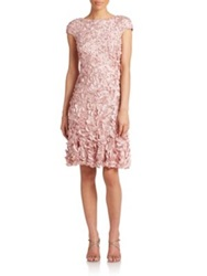 Theia Beaded Petal Dress Dusty Rose Navy