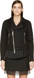 Neil Barrett Black Neoprene Pleated Trim Biker Jacket