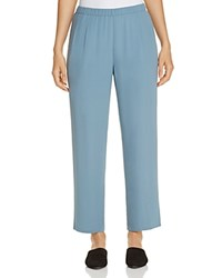 Eileen Fisher Petites Silk Straight Ankle Pants Blue Steel