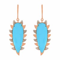 Meghna Jewels Claw Drop Earring Turquoise And Diamonds Blue