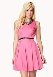 Forever 21 Classic Pleat Dress W Belt Pink