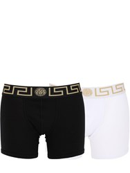 Versace Pack Of 2 Stretch Cotton Boxer Briefs Black