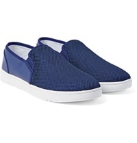 Orlebar Brown Powell Mesh And Coated Canvas Slip On Sneakers Navy