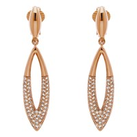 Finesse Glass Cry Navette Drop Clip On Earrings Rose Gold