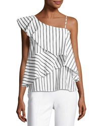 Marled By Reunited Clothing One Shoulder Striped Ruffled Blouse White Blue