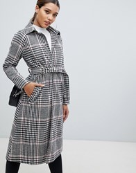 Prettylittlething Longline Belted Coat In Check Multi