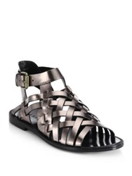 Dannijo Kalle Woven Metallic Leather Sandals Bronze