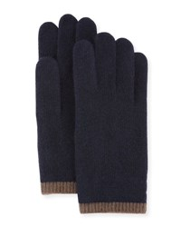Portolano Cashmere Gloves W Contrast Tipping Navy Brown