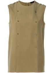 Joseph Double Breasted Buttoned Tank Green