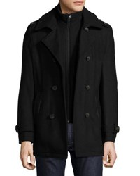 Andrew Marc New York Harry Double Breasted Pea Coat Black