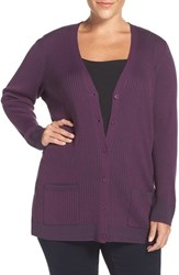 Sejour Plus Size Women's Ribbed V Neck Cardigan Purple Mouline Pattern