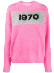 Bella Freud '1970' Crew Neck Jumper Pink