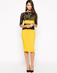 Vesper Esme Pencil Dress With Lace Sleeves Yellow