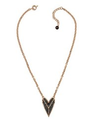 Karl Lagerfeld Pyramid Hearts Crystal Drama Pendant Necklace Rose Gold
