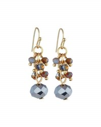 Emily And Ashley Gray Crystal Dangle Earrings Grey Pearl
