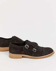 Selected Homme Suede Monk Shoes Brown