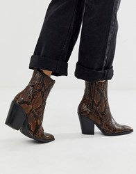 Aldo Drerissa Heeled Leather Western Boot In Brown Snake
