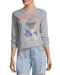 Libertine Striped Pug Printed Long Sleeve T Shirt Blue Pattern