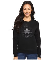Converse Chuck Patch Metallic Dot Crew Fleece Top Black Women's Fleece