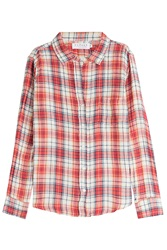 Velvet Checked Cotton Shirt Multicolor