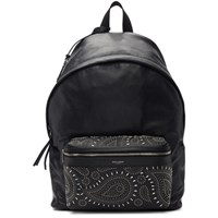 Saint Laurent Black Bandana Stud City Backpack