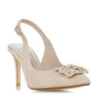 Dune Daphnie Jewelled Square Brooch Slingback Court Sh Pink