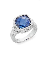 Judith Ripka Basketweave Blue Corundum And Sterling Silver Ring Silver Blue