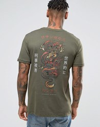 Criminal Damage T Shirt With Dragon Back Print Khaki Green
