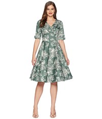 Unique Vintage Delores Swing Dress Sage Green Floral