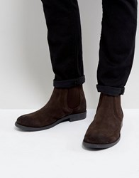 Frank Wright Round Toe Suede Chelsea Boots Brown