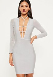Missguided Grey Bandage Mesh Sleeve Bodycon Dress