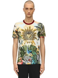 Dolce And Gabbana Printed Cotton Jersey T Shirt Multicolor