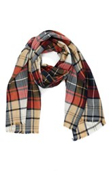Sole Society 'S Oversize Plaid Scarf Camel Combo