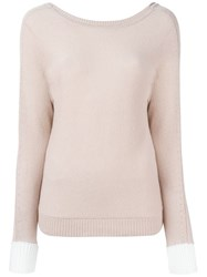 Allude Deep V Back Jumper Pink And Purple