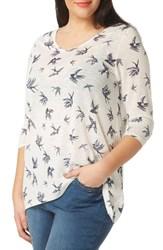 Evans Plus Size Women's Swallow Print Tee Ivory