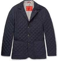 Isaia Quilted Checked Shell Jacket Midnight Blue