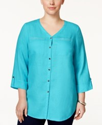 Jm Collection Woman Jm Collection Plus Size Linen Tab Sleeve Shirt Only At Macy's Turquoise Pool