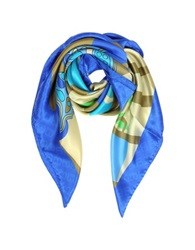 Laura Biagiotti Multicolor Butterfly Print And Logo Silk Square Scarf Blue