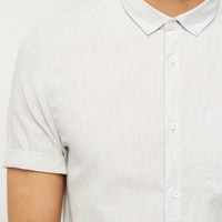 River Island Mens Grey Waffle Texture Short Sleeve Shirt