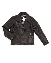 Molo Hyacinth Leather Zip Trim Biker Jacket Black