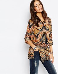 Only Mixed Print Tunic Top Tan